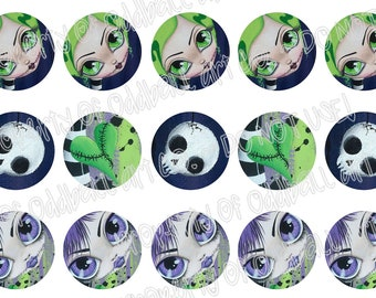 Bottlecap Images Digital Collage Sheet One Inch Circles Zombie Girls Series No.1 4x6 Bottle Caps