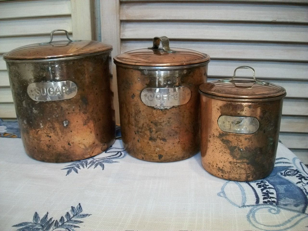vintage copper canister set rustic copper canisters set of 3
