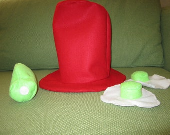 Sam I Am hat with Green Eggs and Ham Toy
