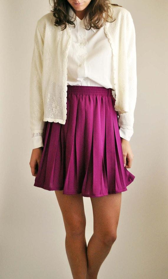 Large Purple Pleated Mini Skirt