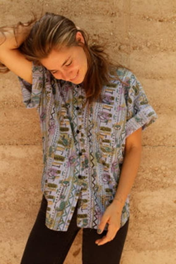 90s NORTHWEST wild all over FISH grunge slate blue SLOUCHY shirt top blouse
