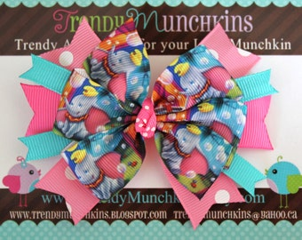 Dumbo Pinwheel Hair Bow - Pink and Blue Polka Dot Spiked Bow