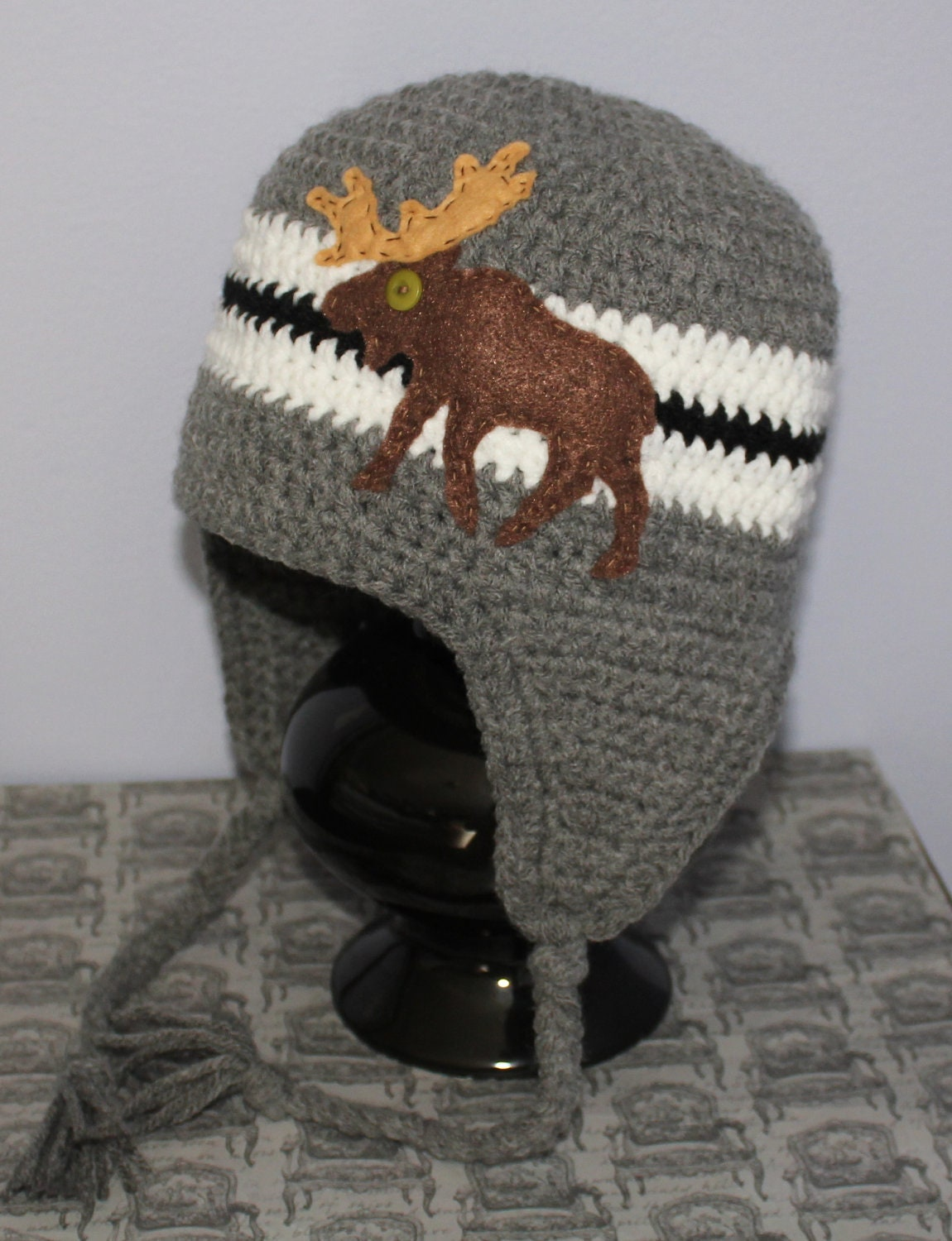 Crochet Pattern Moose Hat : Moose Earflap Beanie Hat Grey Black and White by ...