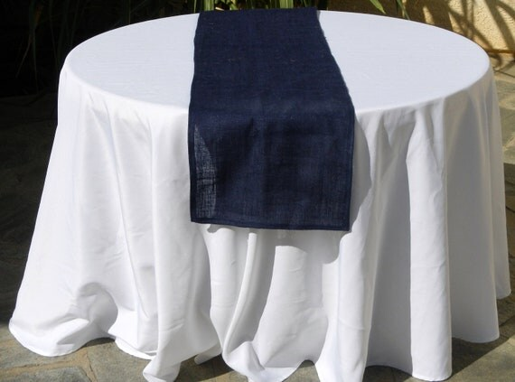 Burlap Table Runner, Navy Blue Burlap, Blue Sultana Burlap, Custom Size and Large Orders Available