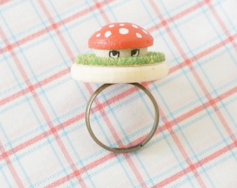 Wooden Ring - Hand Painted Illustration - Mr.Mushuroom - 1 inch