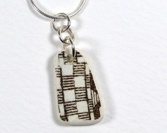 Black and White Beach Pottery Necklace