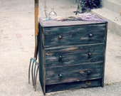 Hand Painted furniture Imitative Wormhole  Crack Old fashioned  Country 3 drawer Chest  black cherry  patina