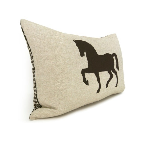 Decorative Horse Pillows : Horse Print on Decorative Pillow Case, Cushion Cover In Brown and Natural Beige with Houndstooth ...