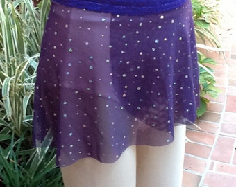 NEW Dance/Ballet Short Wrap Skirt in Purple w/ Holo Sequins