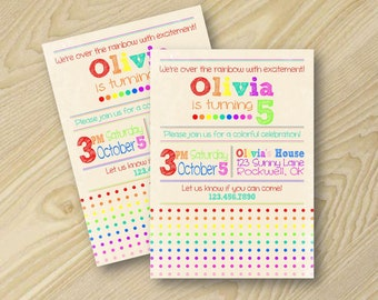 Rainbow Party - Rainbow Birthday Invitation - Girl Birthday Invitation