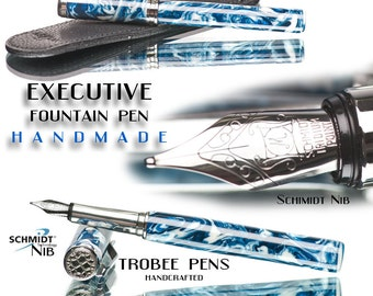 Handcrafted Fountain Pen Blue and White  swirled acrylic with Aston Leather pen sleeve hand machined stainless steel pen parts