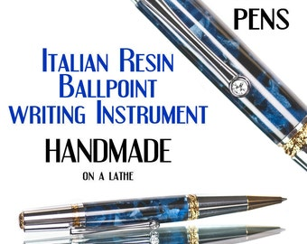Handmade  acrylic pen with Italian resin : 22kt Titanium Gold Trim High Quality Ball Pen  Luxury writing instrument top pen seller ball pen