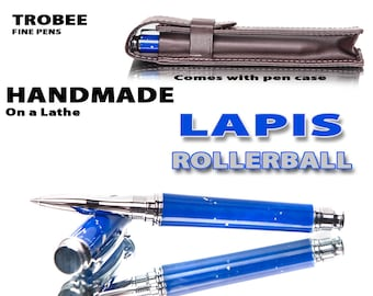 New Great gift for any pen collector - Lapis rollerball made on a lathe by hand