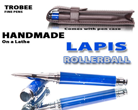 Blue Lapis Trustone Rollerball accepts medium, fine, extra fine point roller cartridges comes with faux leather pen pouch