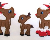 Christmas single deer, reindeer, Rudolph, with Santa hat and boots, and without - machine embroidery applique designs, 4x4, 5x7 INSTANT