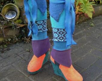 teal fleece ADJUSTABLE long short leg warmers highs leggings pixie boots elf peaks fantasy gypsy
