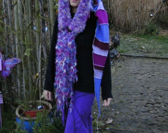 fleece hoodie forest scarf neckwarmer pixie winter cap shawl gypsy scoodie hat cowl fringed poncho Ooak
