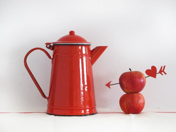 Red kitchen,large French vintage enamel teapot, red passion enamelware coffee pot