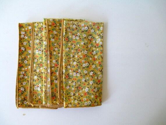 Vintage Mustard Yellow Napkins with Tiny Floral Print, Set of Four Retro Napkin Set