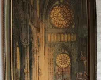 Reims Cathedral, In Rheims, Notre Dame Cathedral, Print, Art Work, World War I, Notre Dame