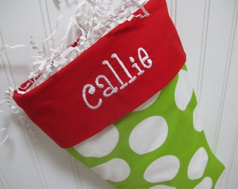 Polka Dot Christmas Stocking - embroidered monogram - Bright Green and white polka dot with red toe and cuff