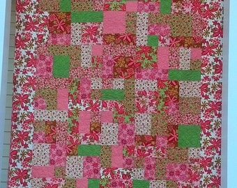 Woodland Bloom Lap/Baby/Throw Quilt in Pink, Green and Brown