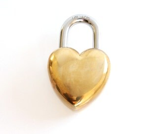 Large Heart Lock . Love Lock . heart padlock . shabby chic wedding decor . 7th anniversary gift brass