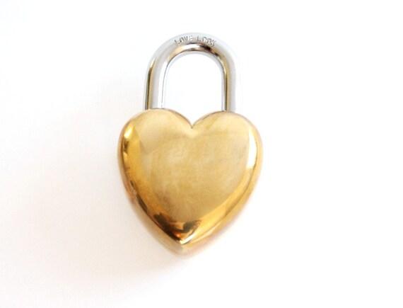 Large Heart Lock . Love Lock . heart padlock . shabby chic wedding decor . 7th anniversary gift brass