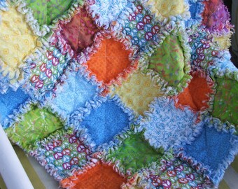Peace Out - Baby Girl or Boy Rag Quilt Shabby Chic