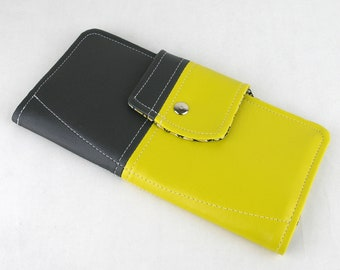 Vinyl Passport Wallet, Yellow Passport Wallet, Gray Passport Case, Vegan Wallet