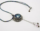 Assemblage necklace Vintage Rhinestones, Vintage Czech Beads, Blue Seed Beads No. 85