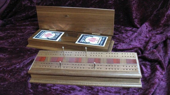 Walnut 2 Player Cribbage Board with Real Wood Inlay
