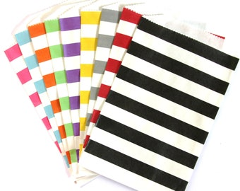 CLEARANCE SALE - 25 Horizontal Stripe Treat Bags (Party or Wedding Favor Bags, Scrapbooking, Gift Wrap, Envelopes) - 5 x 7.5 inches