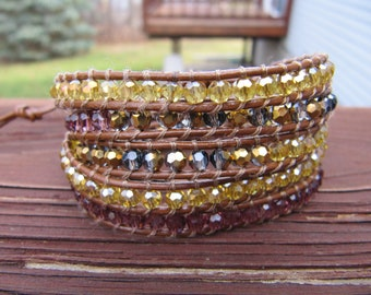 Leather Wrap Bracelet - Gold, Brown & Red Crystals
