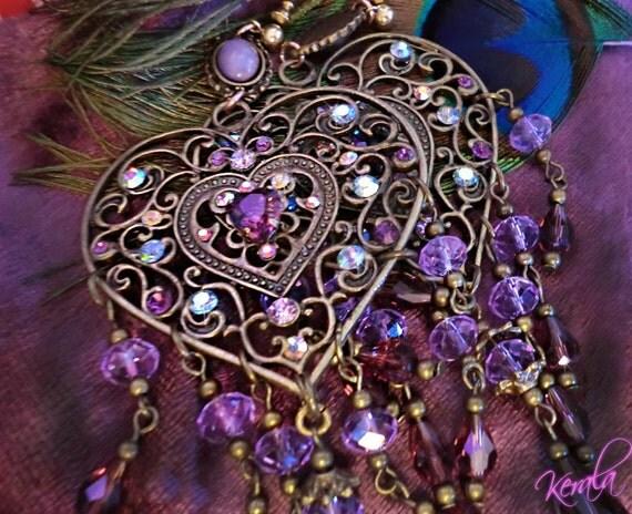 Purple Amethyst Crystal Chandelier Earrings