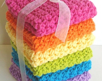Crochet Dishcloths Washcloths - Set of 6 - Kitchen, Bathroom, Baby - Pink, Orange, Yellow, Green, Blue, Purple - 100% Cotton