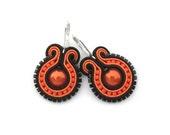 Neon Orange Earrings Blood Orange Earrings Orange Earring Soutache Earring Neon Earring Orange Earings Orange and Black Soutache Jewelry