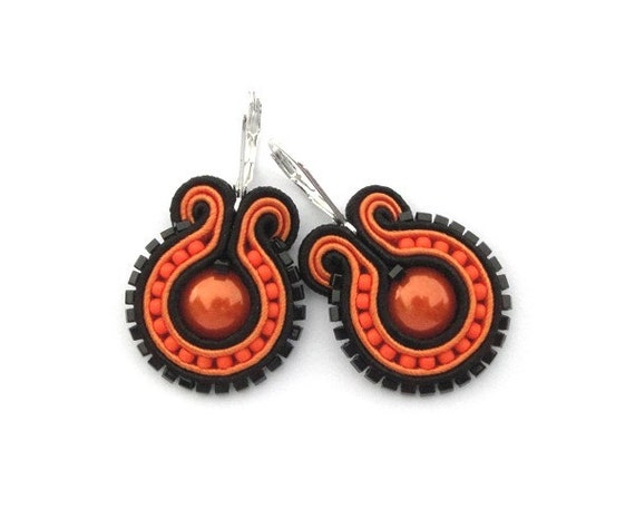 Neon Orange Earrings Blood Orange Earrings Orange Earring Soutache Earring Neon Earring Orange Earings Orange and Black Soutache Jewelry