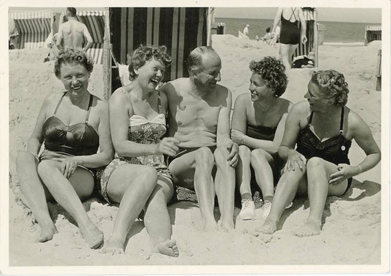 "Vintage Photo Postcard ""Sibling Fun at the Beach"", Photography, Paper Ephemera, Snapshot, Old Photo, Collectibles"