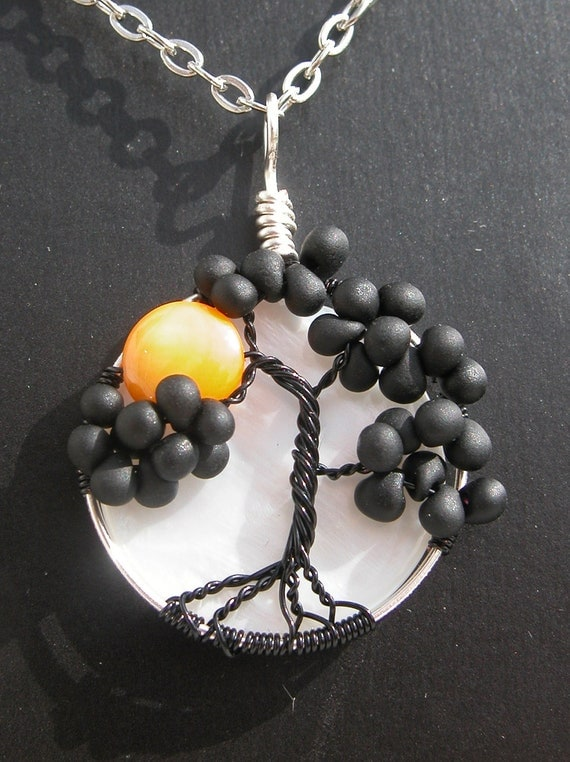 Black Tree of Life with Harvest Moon - Fall - Autumn - Halloween