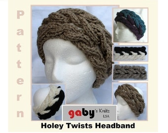 Pattern  for Hand Knit Headband Holey Twists