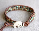 Rustic Picasso Boho beach beaded leather wrap bracelet, 1x Wrap bracelet, Chan Luu style, Good Luck elephant, Turquoise