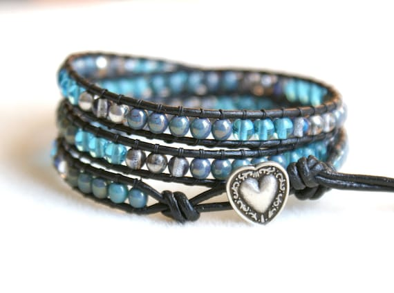 Silver blue Boho beaded leather wrap bracelet, 3x Wrap bracelet, Chan Luu Style, grey, blue, Bermuda blue, silver heart,