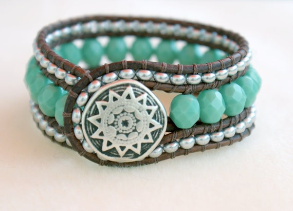 Turquoise bohemian beaded distressed leather wrap bracelet, boho chic, cuff, Chan Luu style, silver, green