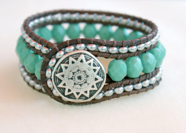 turquoise bohemian beaded distressed leather wrap bracelet. Black Bedroom Furniture Sets. Home Design Ideas
