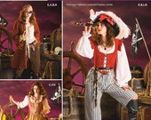 Uncut Simplicity Pattern 3677 - Misses Pirate Costume Size 6 - 8 - 10 - 12
