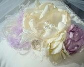 Baby Flower Headband, Baby Headband, Children, Infant Headband, Couture Headband, Photo Prop /Handmade Cream and Lilac  with Lace Headband