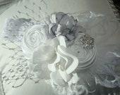 Baby Girl Flower Headband, Baby Heaban, Flower Headband. Rosette Headband,  Christmas Headband, Photo Prop / White Rosette with Silver Grey