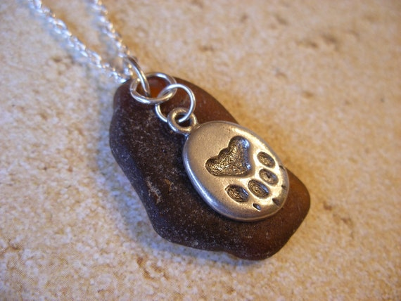 Genuine Brown Scottish Sea GlassNecklace with Paw Print Charm