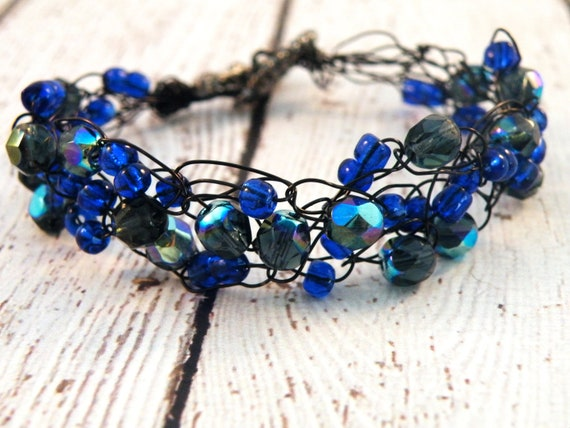 Wire Crochet Bracelet with Cobalt, Indigo and Black Iridescent Czech Beads on Black Wire
